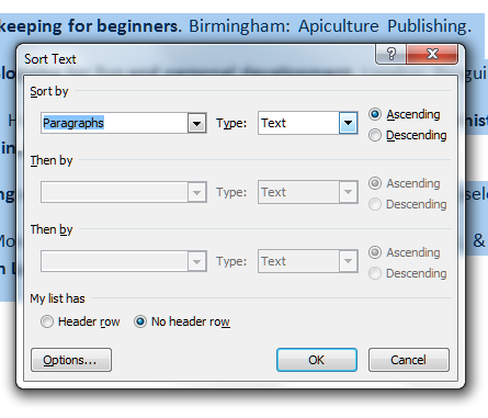 how to arrange References in alphabetical order