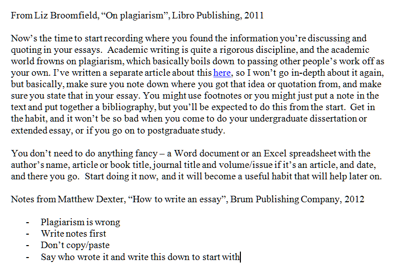 proper quoting in an essay