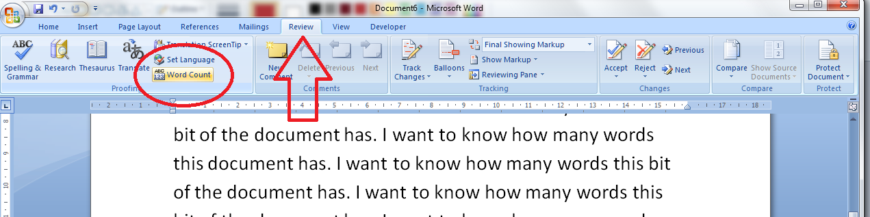 how do i count the words in my word document  click