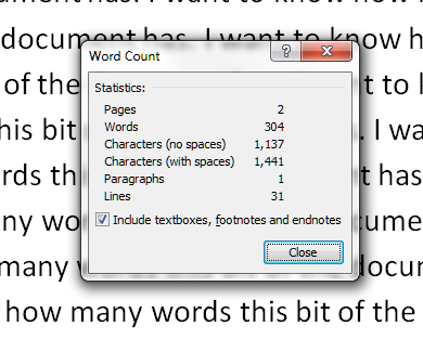 how to add word count to word document