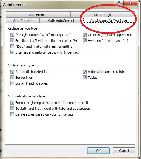 AutoFormat As You Type menu