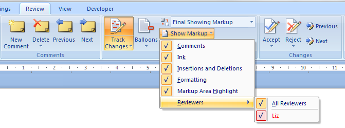 how to clear all markup in word document