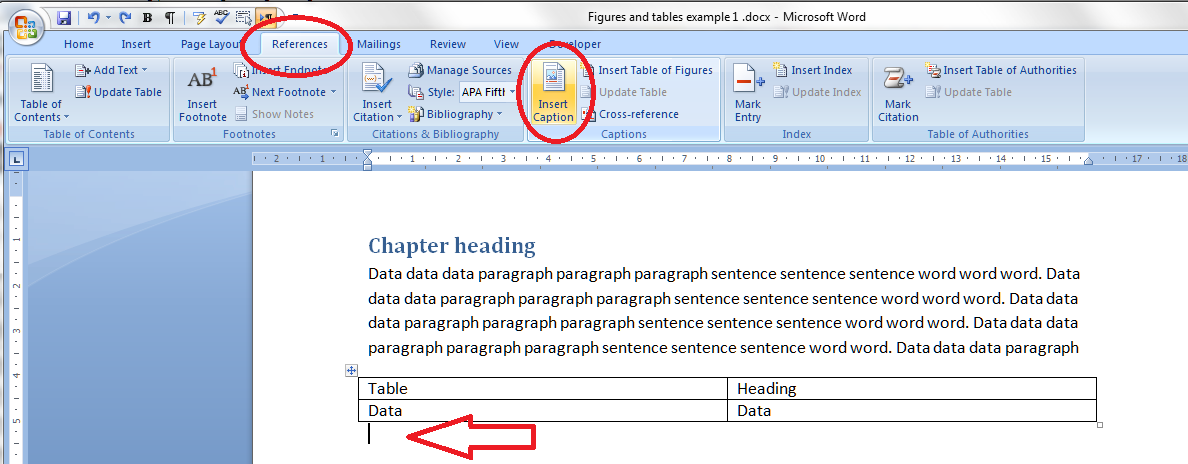 How to create automatic list of figures in word 2020