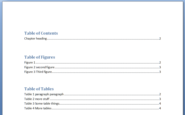 Include a table of contents following these guidelines: