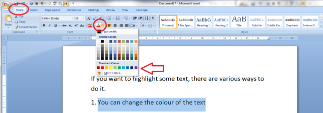 1 change text colour