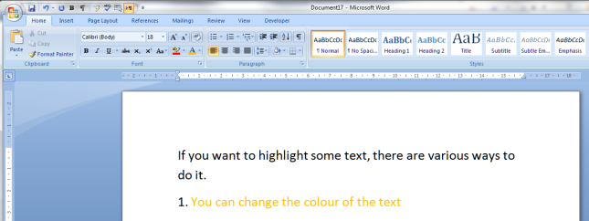 2 change text colour result