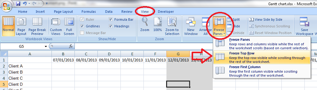 there are frozen panes in excel how to fix