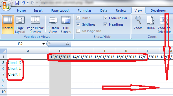 6 freeze row and column effect