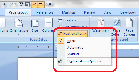 2 drop down hyphenation menu