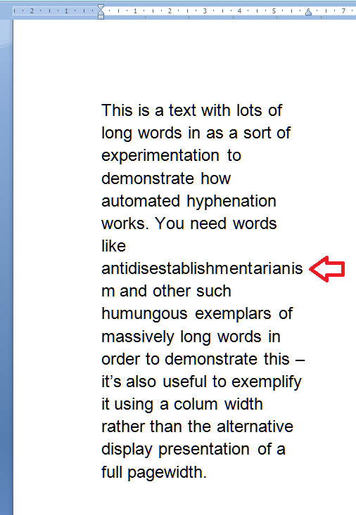 3 without justification or hyphenation