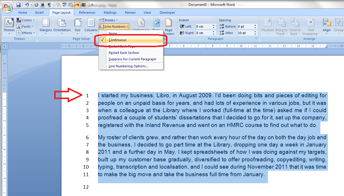 How to add line numbers to a Word document | LibroEditing ...