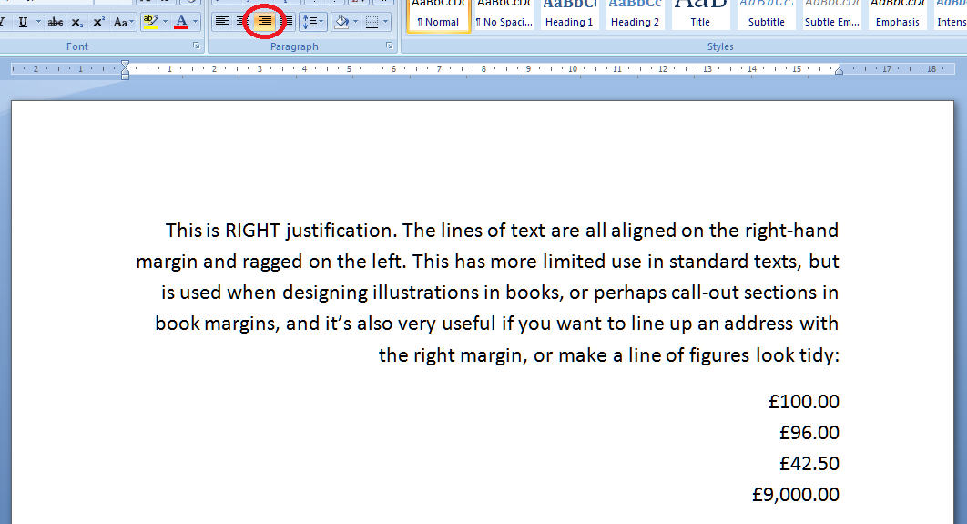 justification in word documents proofreading  4 right justification