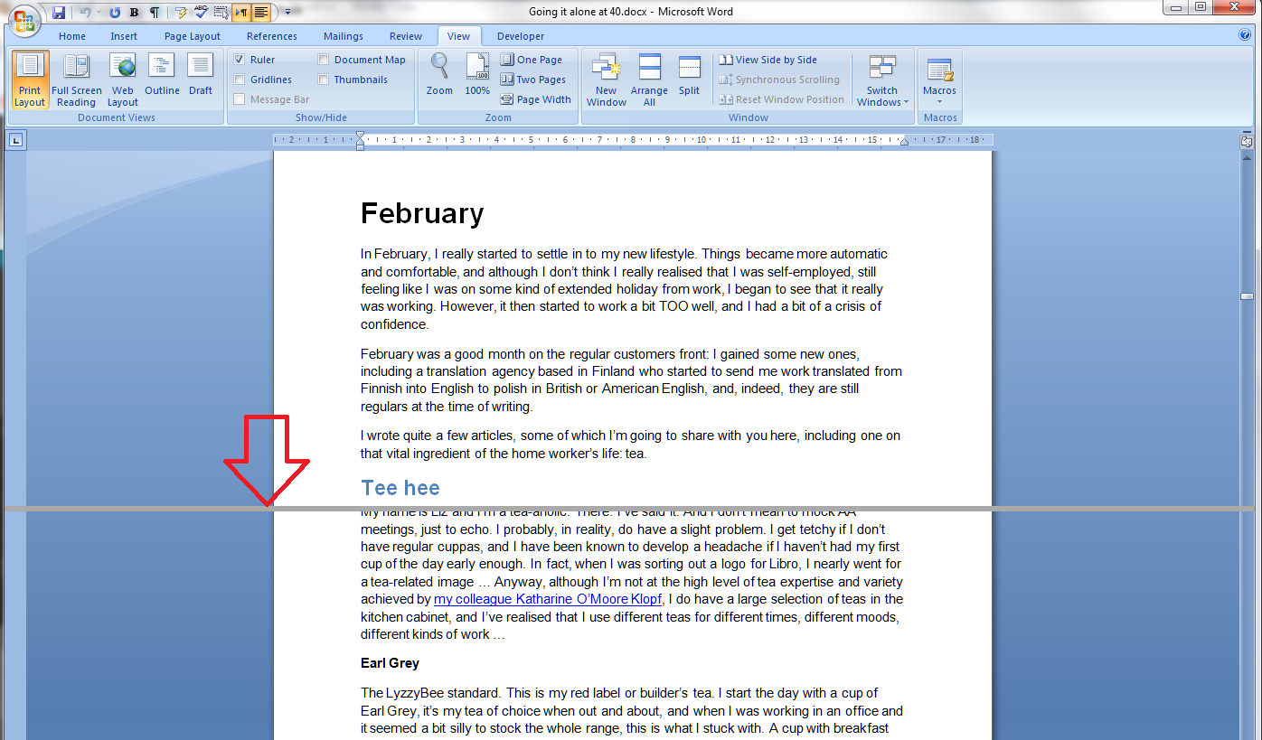 Using the split screen view in word libroediting proofreading once youve positioned the screen split it can go anywhere horizontally on the page it turns into a second ruler ccuart Gallery
