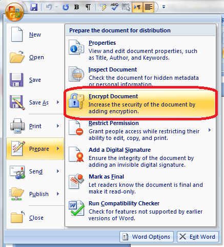 password protect a word document 2007