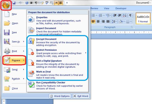 Word 2007 1 menu