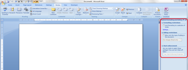 Word 2007 11 restrict editing