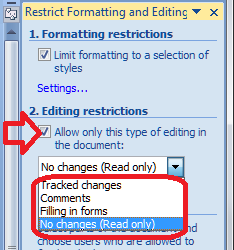 Word 2007 13 restrict editing