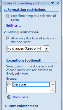 Word 2007 14 restrict editing