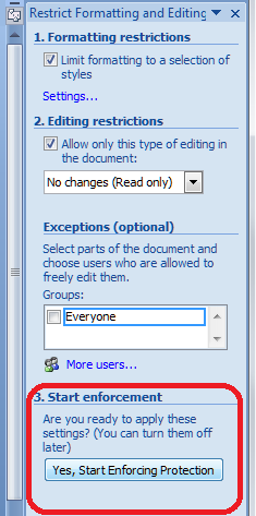 Word 2007 15 restrict editing
