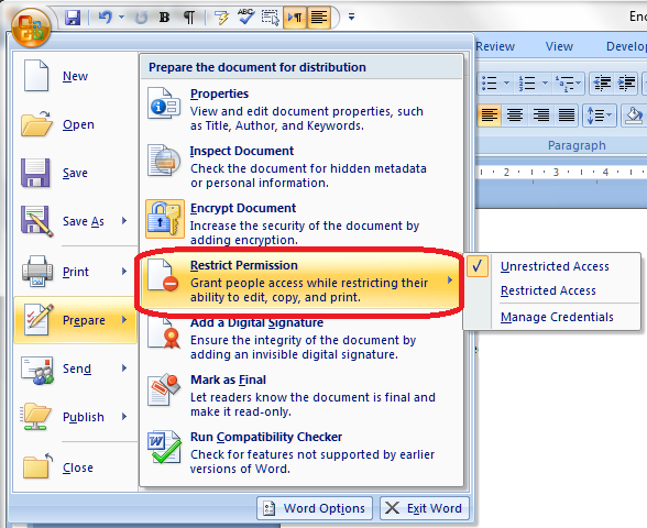 Word 2007 3 permissions