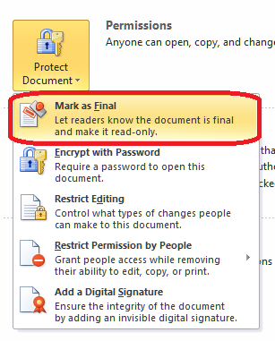 How do I protect my document in Word 2010? | LibroEditing