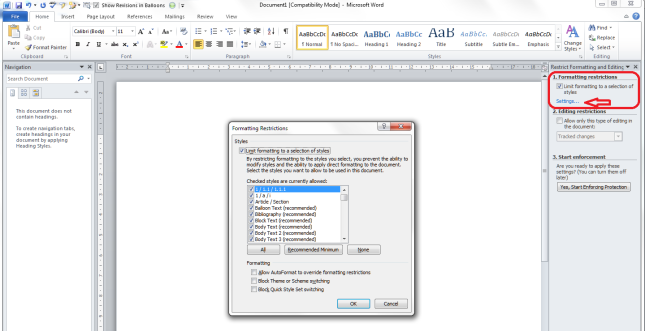 Word 2010 9 restrict editing