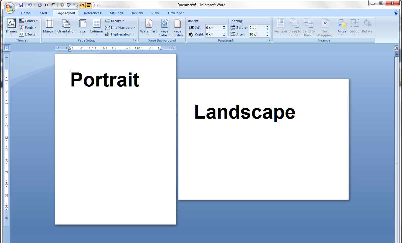 Portrait and landscape orientation in word and excel 1 pages ccuart Gallery