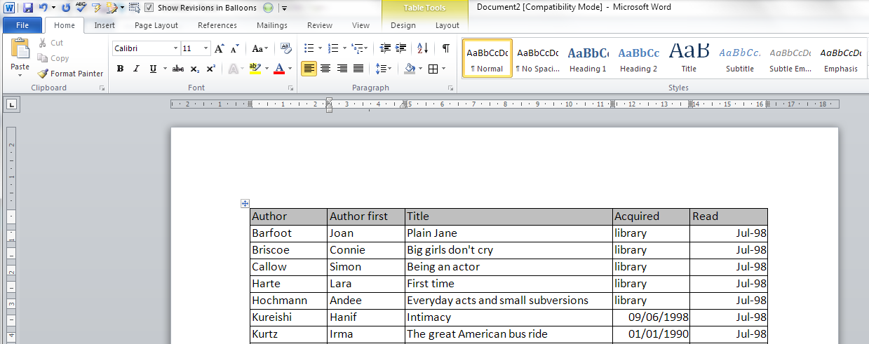 How do i keep my table headings over multiple pages in a for Table design on word