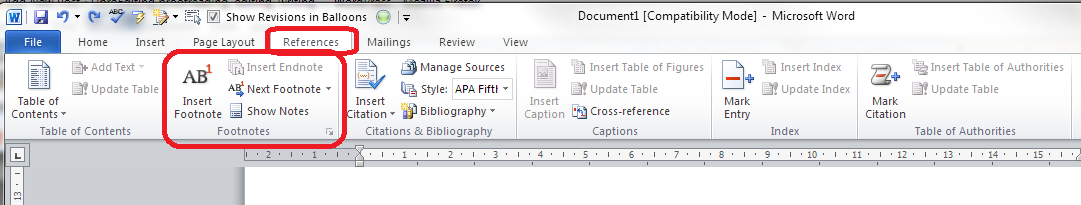 How do you put reference numbers and footnotes on in word?