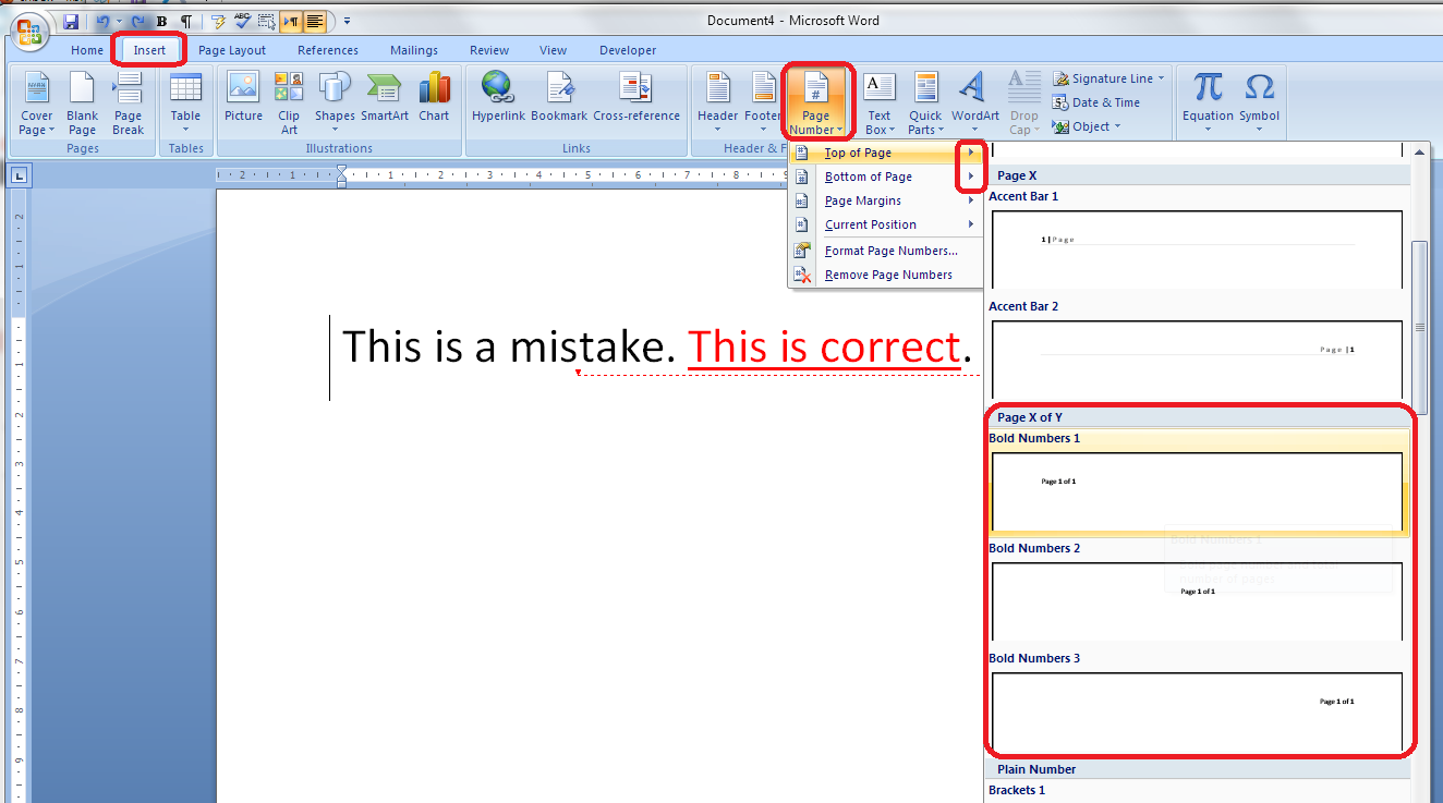 How to add page 1of 2 to a word 2007 or word 2010 document this gives you three places where you can insert page x of y into your document ive chosen the top one click the option and there you have it ccuart
