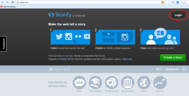 Storify home page