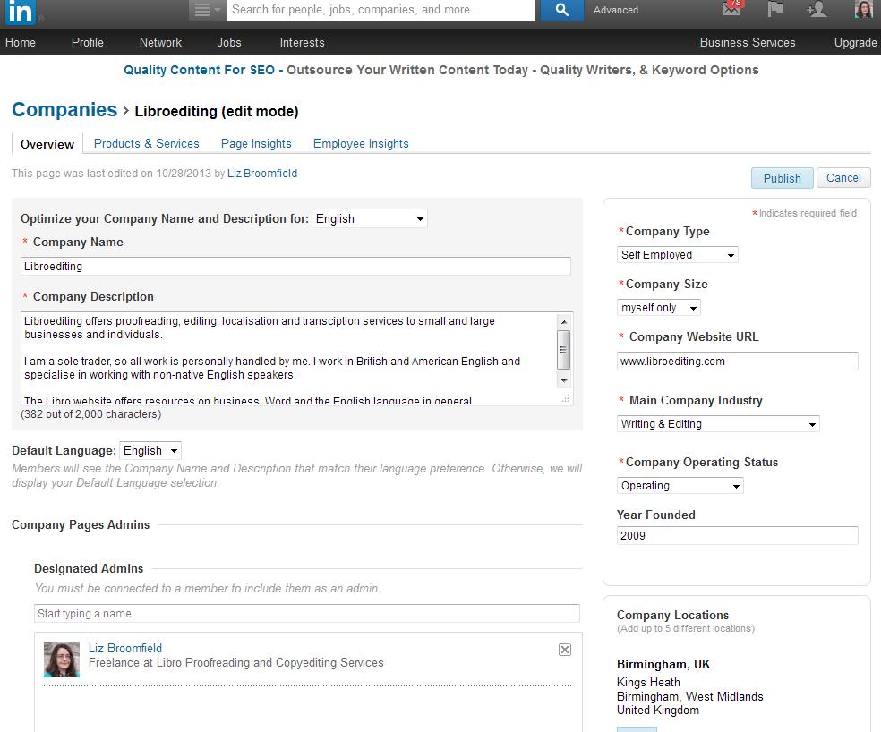 how to set up a company page on linkedin