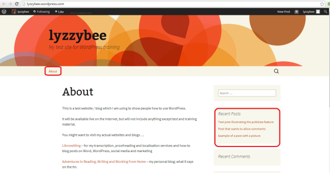 WordPress blog default