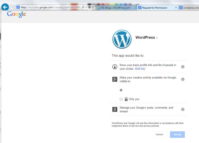 1f Google+ permissions