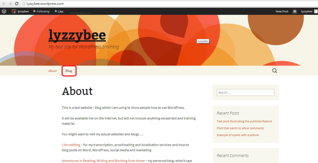 Page added - Blog appears on menu
