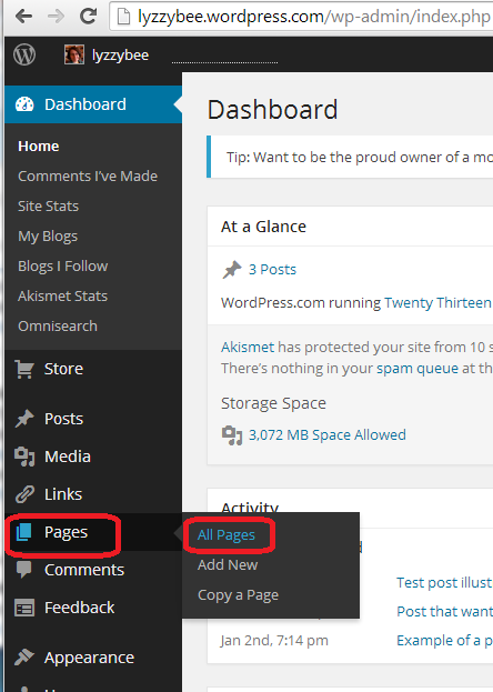 Pages menu in WordPress