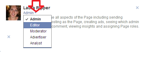Facebook page role options