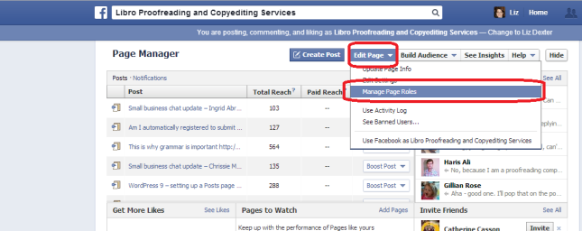 Facebook page moderator page roles