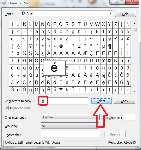 character map select character