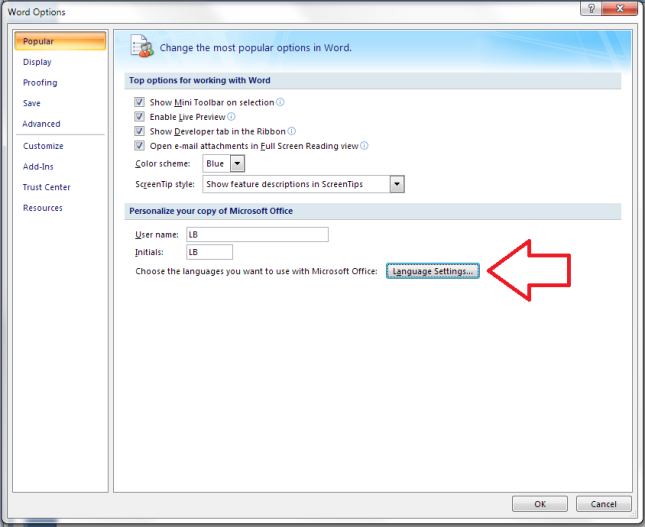 how to change the language on excel 2013
