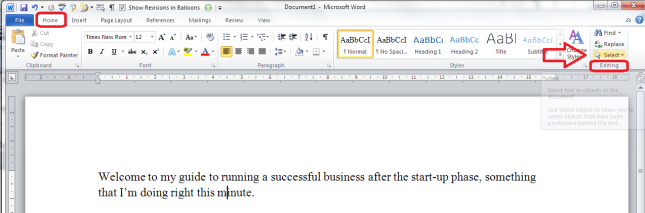 select all text in word