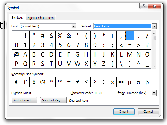 choice of symbols in word