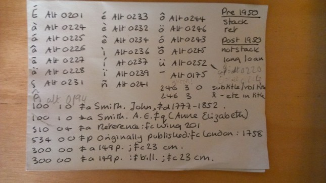 Alt+ codes notes