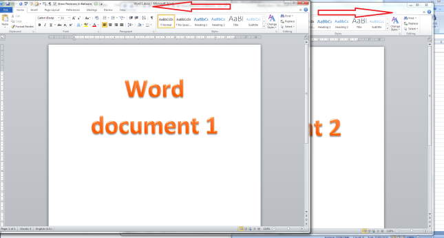 Two Word documents on one screen