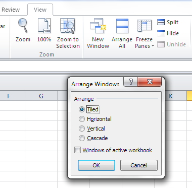 excel arrange all button options