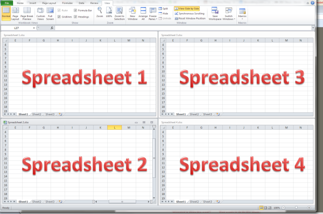 excel arrange all Tiled option