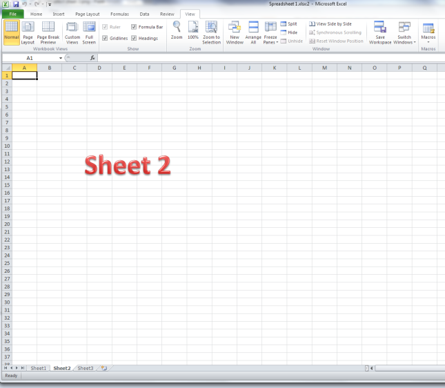 Excel view sheet2