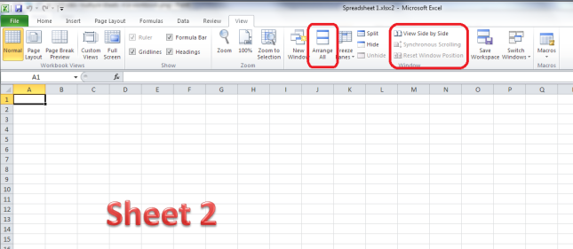 Excel choose options for displaying multiple sheets