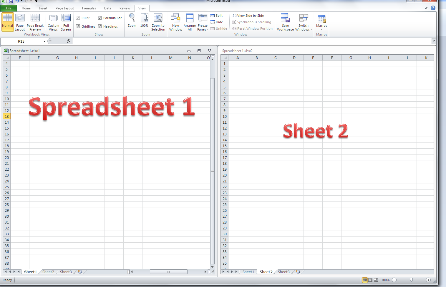 worksheet Workbook Vs Worksheet how do i view two sheets of an excel workbook at the same time 17 multiple in a workbook