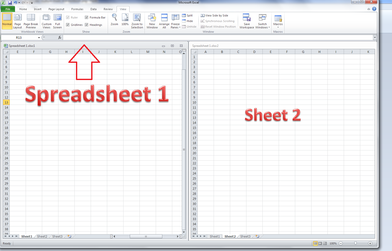 worksheet Excel Compare Two Worksheets how do i view two sheets of an excel workbook at the same time return to single sheet view